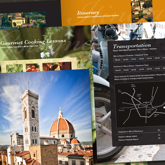 Italy travel brochure design for a summit/seminar